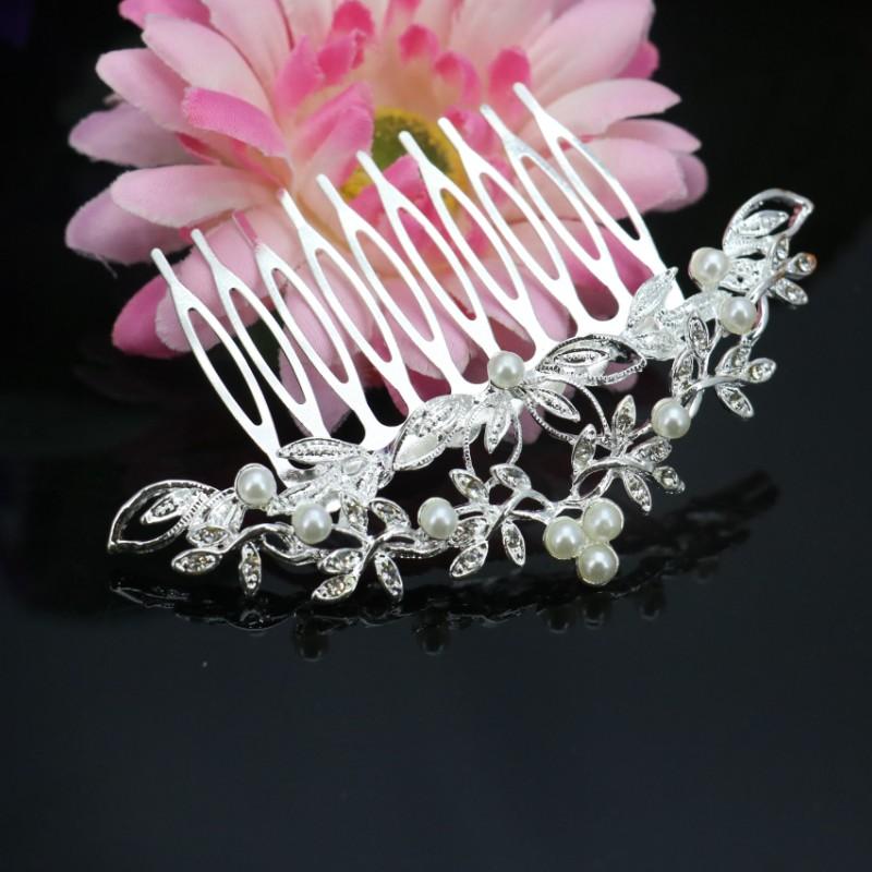 Trendy Hairwear Women Accessories Rhinestone Crystal Pearl Headdress Silver Wedding Tiara With The Bride Hair Comb Free shipping(China (Mainland))