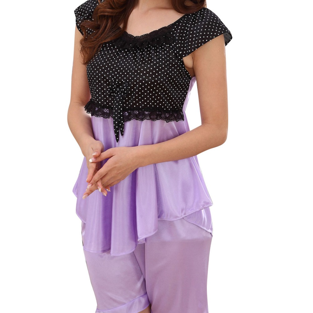 2016 Women Pajamas 2 Pieces Suit Short Sleeved Tops+Shorts Lace Patchwork Sexy Bow Leisure Home Nightwear Wholesale Pajama Sets(China (Mainland))
