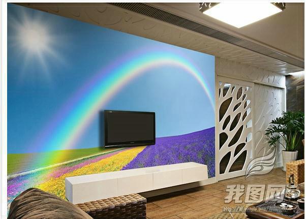 Behang Kinderkamer Regenboog : Kinderkamer regenboog: sticker kinderkamer vrolijke wolken regenboog