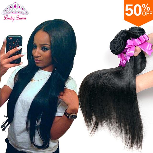 Перуанский Девы Волос Прямой 4 Связки Перуанский Прямые Человеческие Переплетения Волос Пучки 100% Девственных Волос Lucky Queen Hair Products