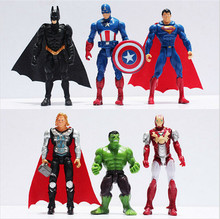 6pcs/set The Avengers Figures Super Hero Toy Sailor Moon Doll Baby Hulk Captain America Superman Batman Thor Iron Man Funko Pop