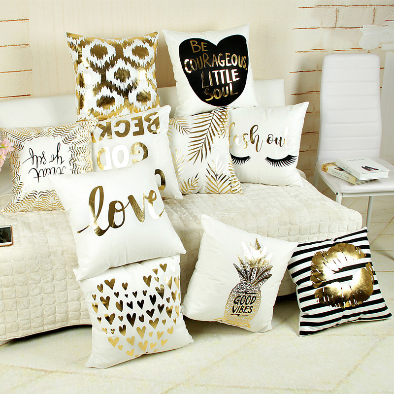 New arrival white color Short plush pillow cushion with bronzing/gold blocking/gilding; 45*45cm(China (Mainland))