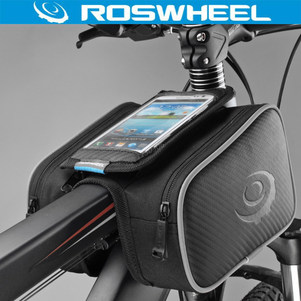 "ROSWHEEL 4.8"" 5.5"" Cycling Bike Bicycle Bags Panniers Frame Front Tube Bag For Cell Phone Double Pouch Holder Touch Screen Bag()"