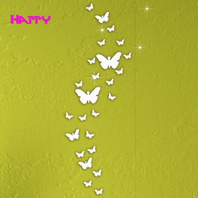 3Butterfly Free Combination Wall Stickers Crystal Home Decoration DIY 3 d Mirror Surface Sticker Kids Room - YIWU MIRROR CRAFT FACTORY store
