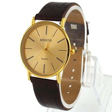Top Sale Fashion Accurate Golden Luxury Gentle Men's Leather Band Quartz Wrist Watches