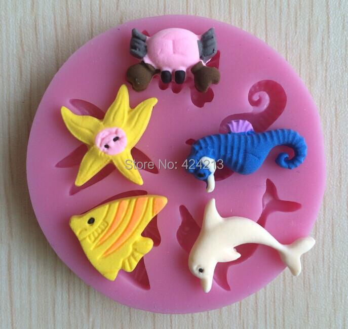 Deep Sea Animal mold mould,silicone cake tools fondant cake design mold,silicone gumpaste art mold,baking tools-P057(China (Mainland))