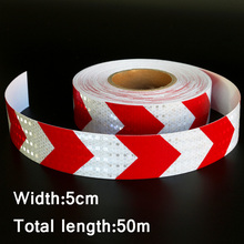 50mx5cm Red&White Arrow Reflective Strips Glue Stickers For Car-Styling Motorcycle Automobiles Decoration Safety Warning Tape