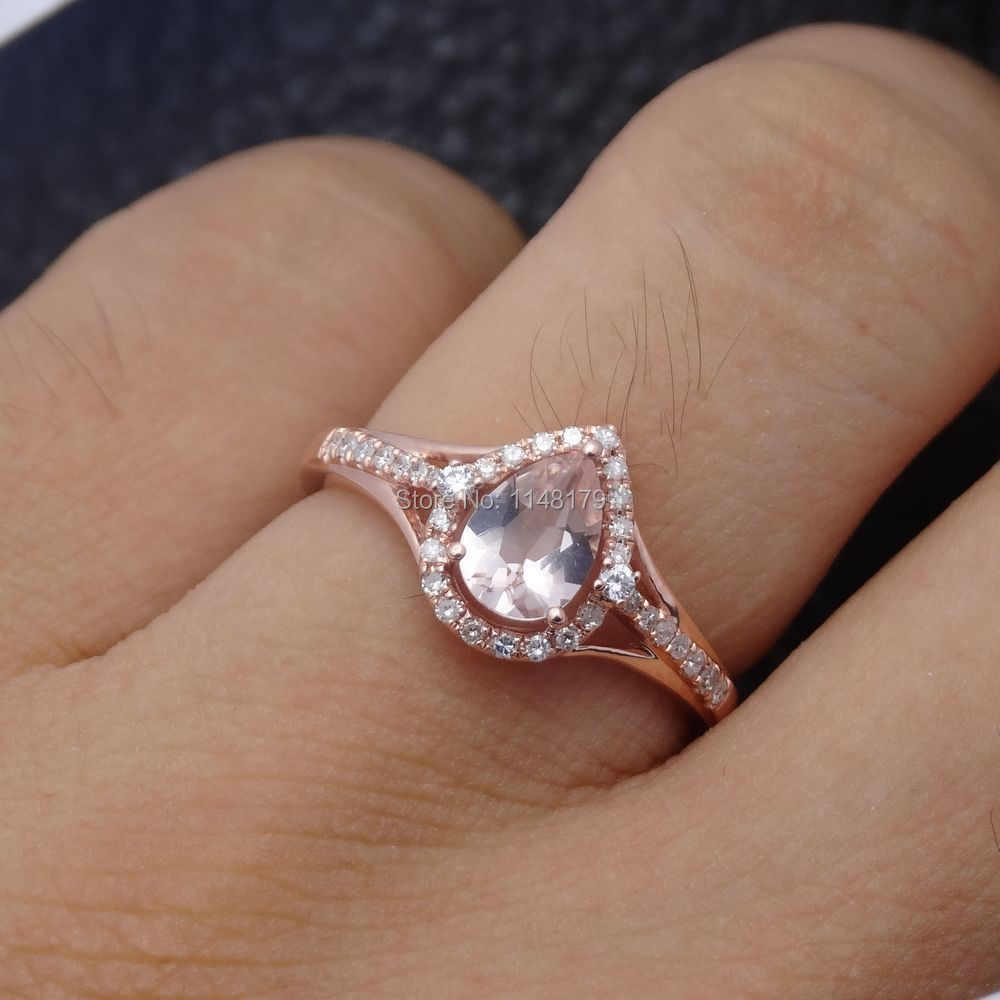 Gallery For Pear Shaped Engagement Ring Rose Gold