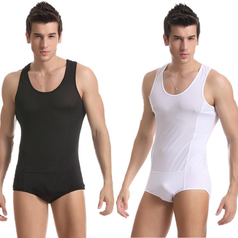 2015 New Men's Undershirt Mesh White Color Singlet Quick Dry Spandex Wrestling Singlet Uniform O-Neck Thin Gym Body Wear for Men(China (Mainland))