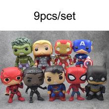 10 pçs/set DC Liga Da Justiça & Vingadores Marvel Super Herói Aquaman 10cm Modelo Figura Boneca Brinquedos De Natal Vinil para presente das crianças(China)
