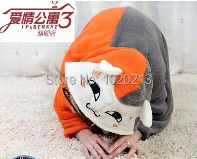 Gismo Natsume Yuujinchou Nyanko Sensei Cosplay plush cloak , cartoon air conditioning blanket coral fleece sleepwear(China (Mainland))