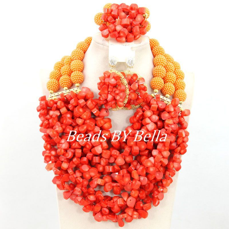 2015 Fashion Orange Coral Beads Necklace Set African Wedding Beads Jewelry Set Costume Bridal Jewelry Set Free Shipping ABY780<br><br>Aliexpress
