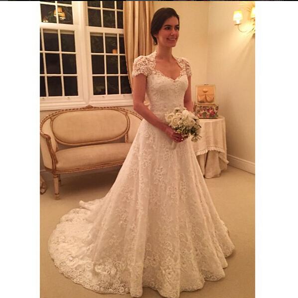 Elgant a line wedding dress 2016 v neck short sleeves lace for Short wedding dress with lace sleeves