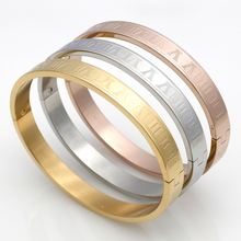 Men And Women Stainless Steel 18K Rose Gold Couples Bracelet Carving Roman Numerals Lover Cuff Bangle Bracelet Wedding Jewelry(China (Mainland))