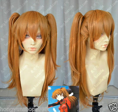 Cos EVA Asuka Soryu Asuka Langley Orange Clip Ponytail Cosplay Hair Wig    Ponytail Heat Resistant queen Hair wigs
