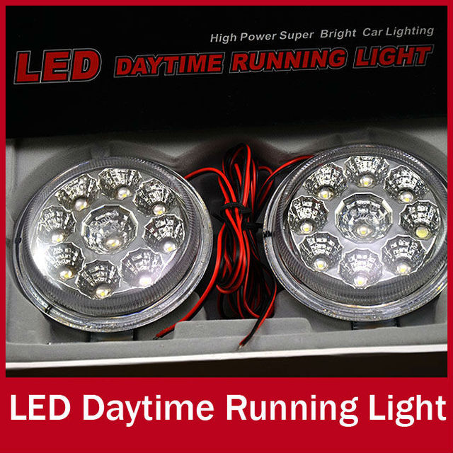 2pcs/set Super Bright 9 LED Ultra Slim Round Car DRL Driving Daytime Running Panel Light Lamp LED DC 12V White