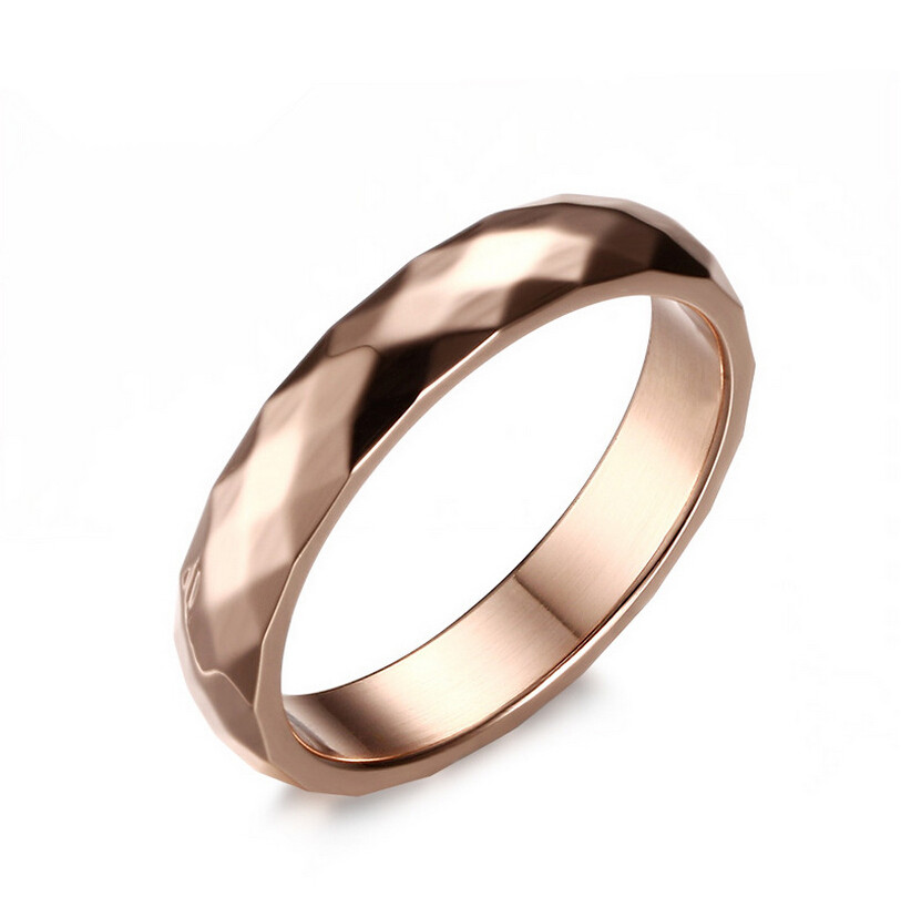wholesale fashion jewelry 4mm rose gold wedding ring for women stainless stee