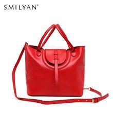 Smilyan casual genuine leather candy color tote hand bag women shoulder bags fashion bolsas femininas high