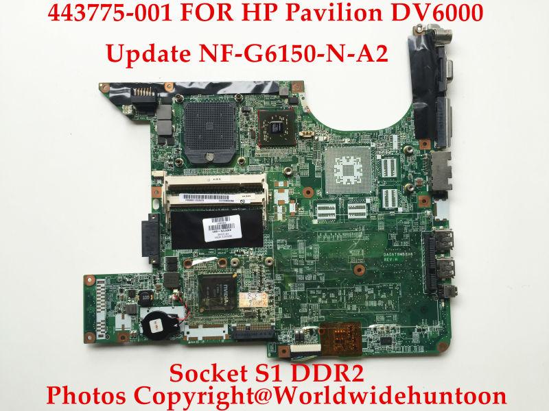 Original laptop motherboard for HP Pavilion DV6000 443775-001 DA0AT8MB8H6 Socket S1 DDR2 Update NF-G6150-N-A2 Works better(China (Mainland))