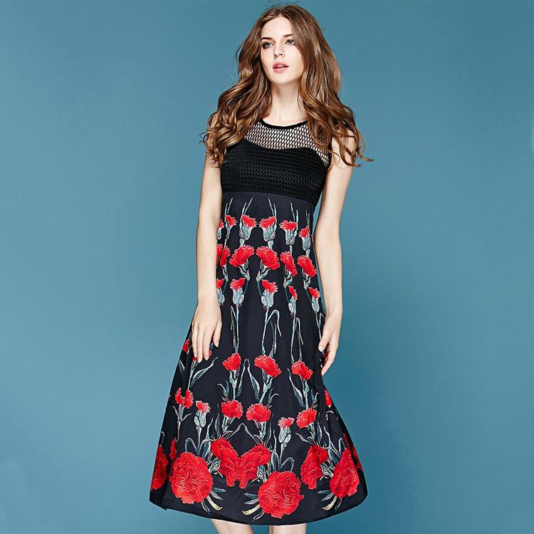 Free Shipping ! 2015 Summer Spring Fashion Runway New Brand Black Paid Spliced Carnation Printed Atrovirens Hem Novelty Dress(China (Mainland))