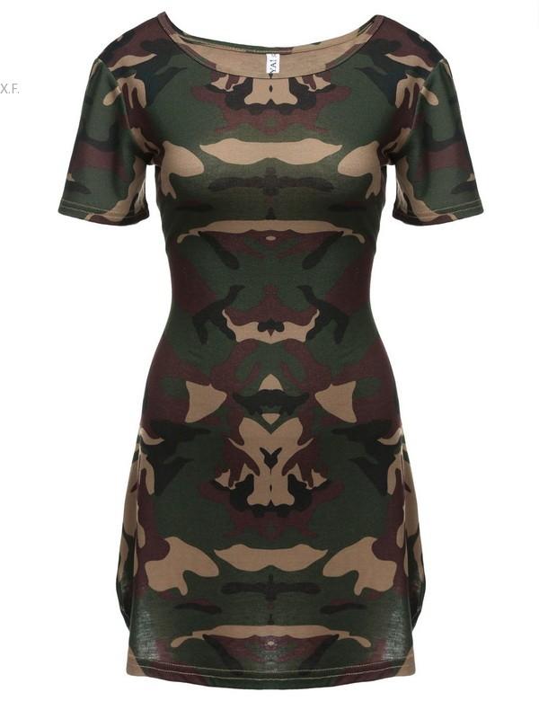 Women Summer Camouflage Mini Bodycon Sheath Party Dress 2016 Fashion Sexy Short Sleeve Camo Print T Shirt Vestidos Army Green(China (Mainland))