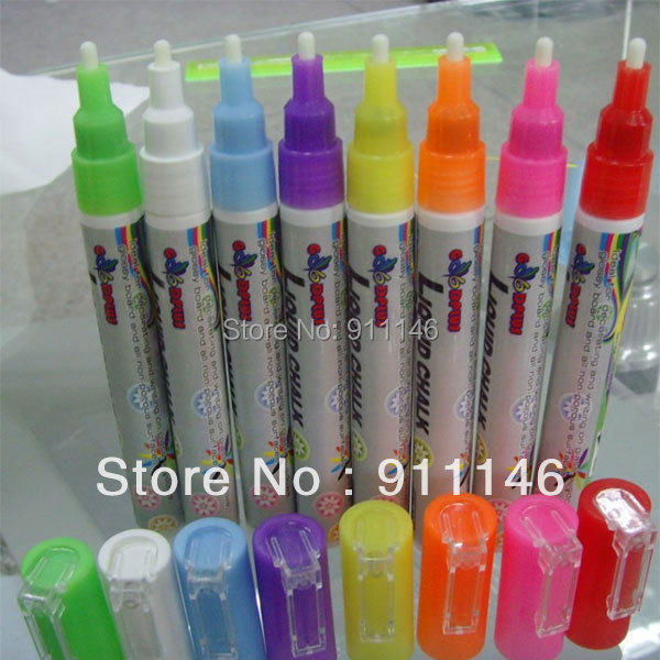 Brand Goodplus 8pcs/set 3mm Highlighter Fluorescent Liquid Chalk Marker Pen for LED Writing fluorescent Board pen <br><br>Aliexpress