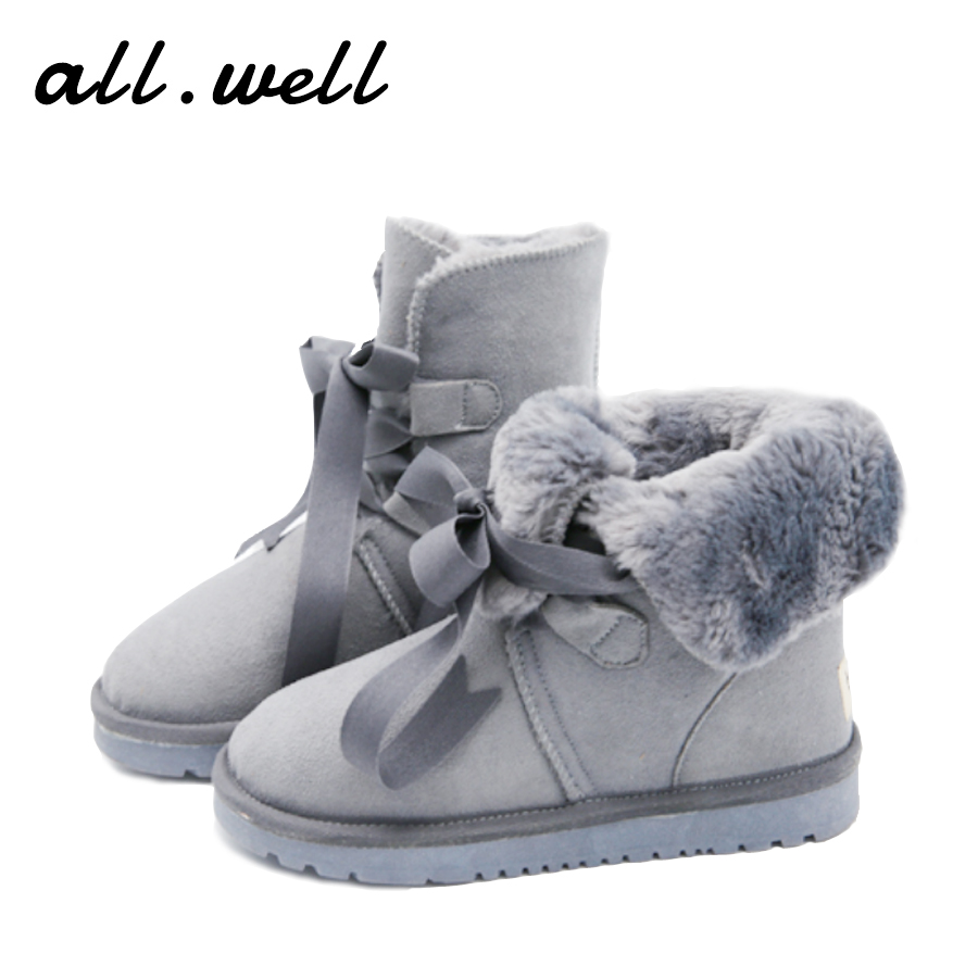 Ug Women Genuine Leather Furry Snow Boots High quality Lace Up Winter Shoes Brand Design Fur Warm Ankle Boots Botas Senhora W169(China (Mainland))