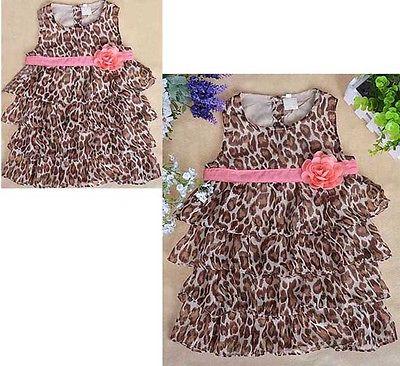 Baby Girls Kids Toddler Chiffon One-piece Dress Tutus Sundress Skirt Size 0-3T