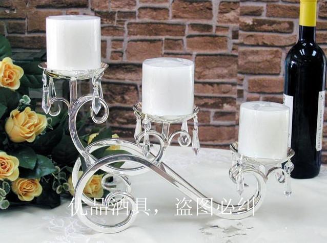 Three elegant silver candlestick holders of European Zinc Alloy Iron Candle Holder(China (Mainland))
