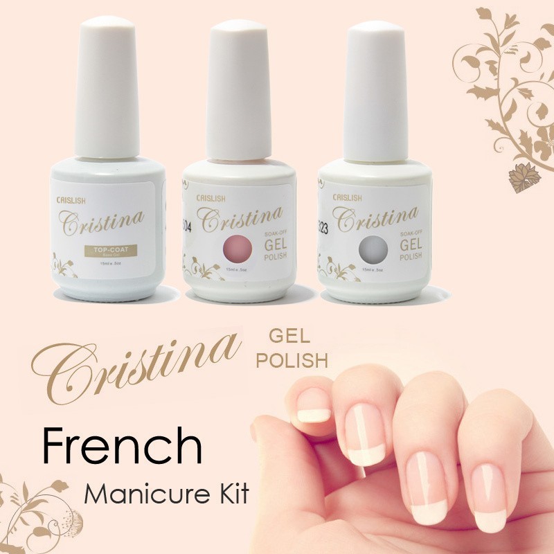 Gel Nail Polish French Manicure: Cristina Professional Color Pink White + Top Coat UV Nails