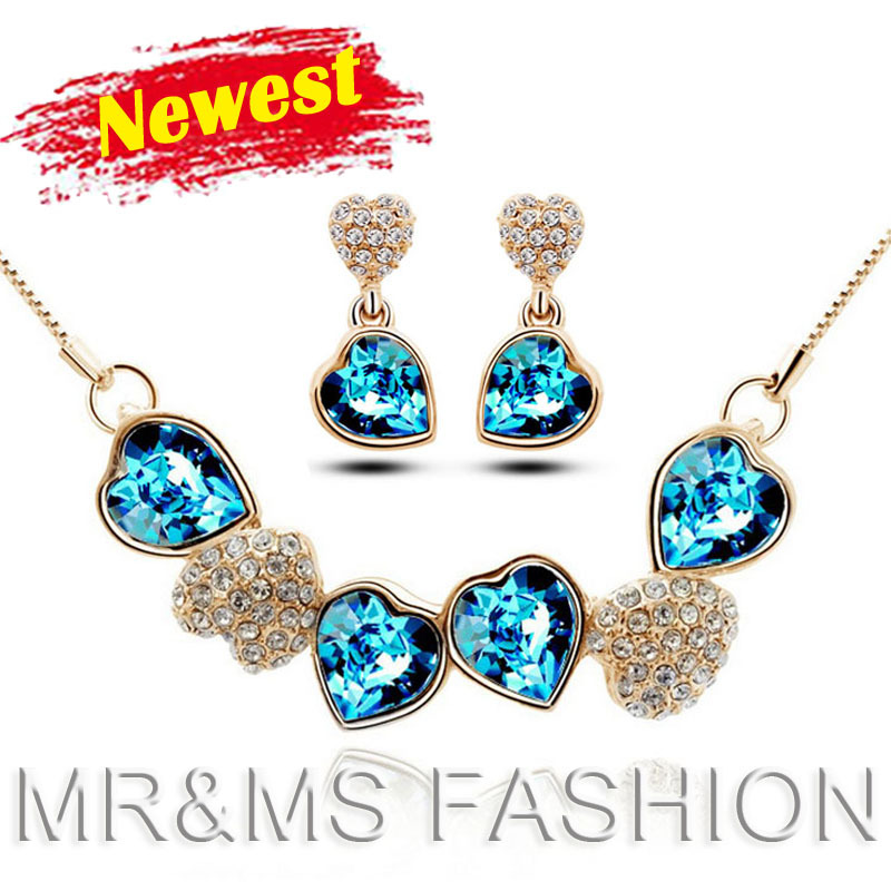 Factory Firstling Hot Sales 18kgp Austrian crystal Heart Pendant necklace earrings fashion fine Jewelry sets YK0014 - CHINA CRAFT OF WOW-KING store