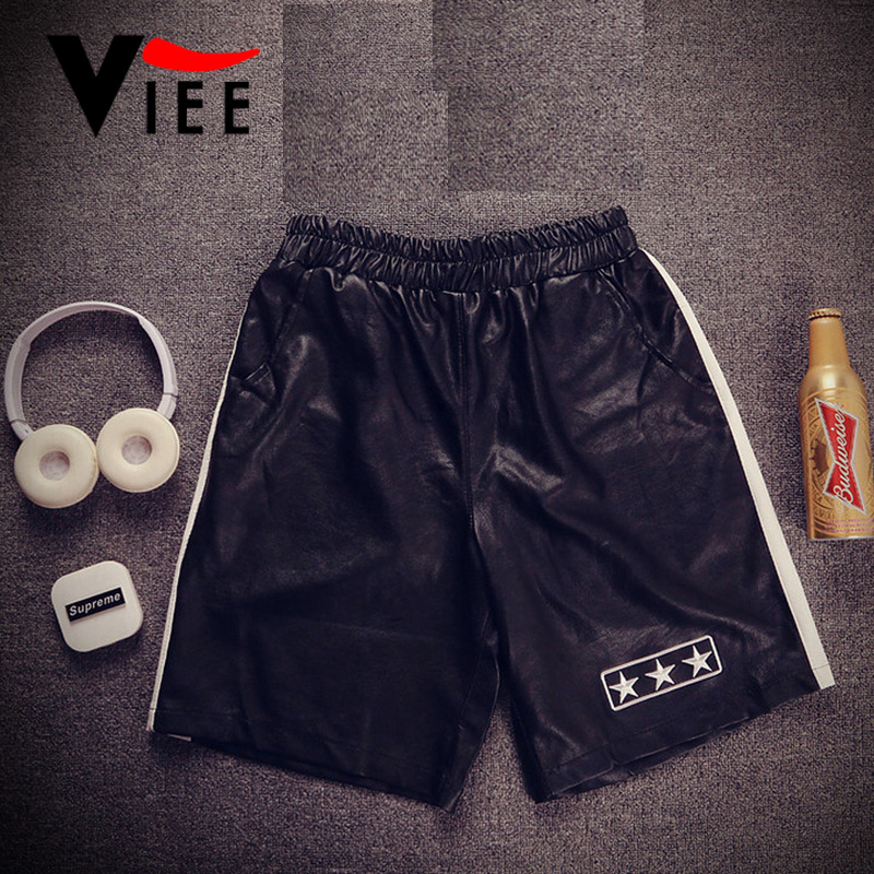 Europe and the United States style fashion brand Stars Leather shorts men's street hiphop loose shorts men short pants VC1613(China (Mainland))