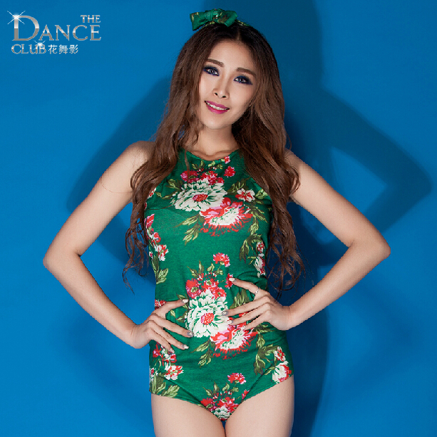 Fashion rompers ds costume female sexy clothes 2015 one-piece flower print bodysuit for Stage dancer performance show(China (Mainland))