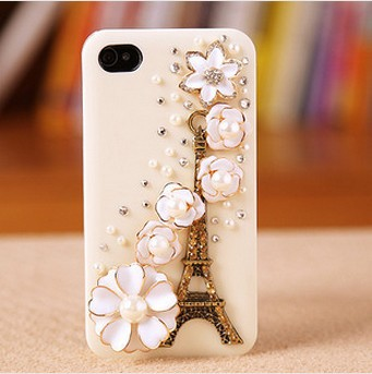 Free Shipping,Case For Iphne 4/4s 5 5s,Tower flowers pattern cell phone protective cover, mobile phone shell .(China (Mainland))