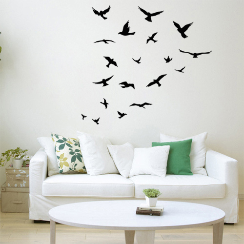 JJRUI Birds flying room Decoration Wall Decal Paper Art viny removable Wall Sticker 21 color(China (Mainland))