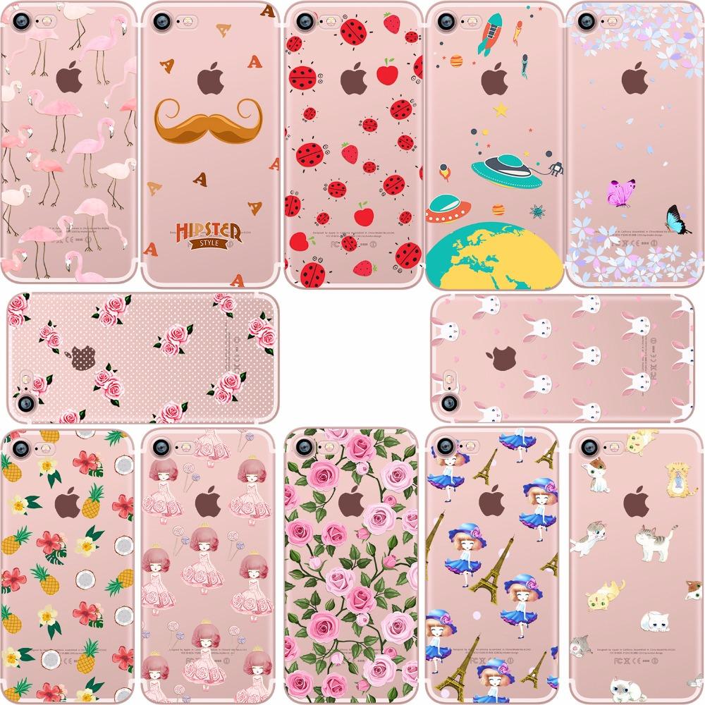 Flamingo Pineapple Flower food Donuts Lemon cat Rabbit cherry soft silicone case cover Apple iphone 6 7 plus 5S SE coque