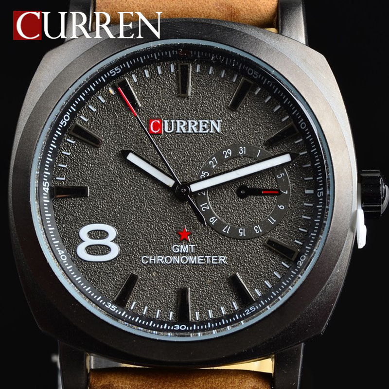 CURREN fashion quartz watch men casual wristwatch Genuine Leather strap army military sport watch for men