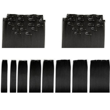 """New Gift 8 Pcs 18"""" #1b Natural Black Straight Full Head Clip In Synthetic Hair Extensions(China (Mainland))"""