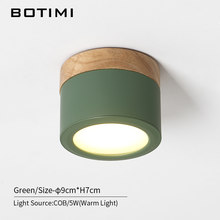 BOTIMI Nordic LED Ceiling Lights With Metal Lampshade For Corridor 220V Round Wooden Ceiling Lamp COB Surface Mounted Lighting(China)
