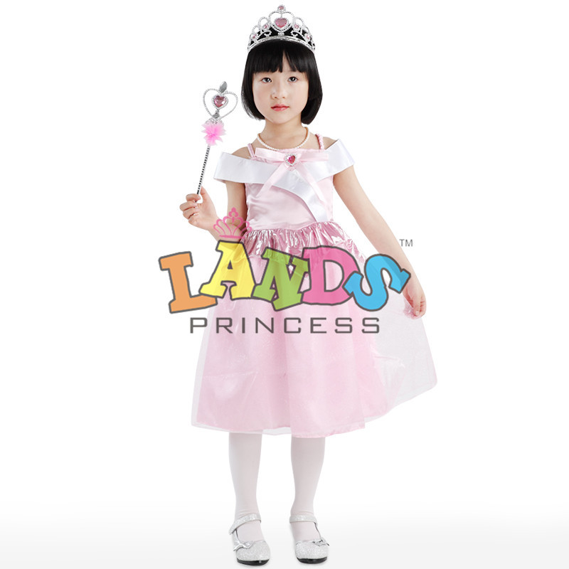 Sleeping Beauty Coaply Costume Princess Kids Dress Wear Perform Clothing With Crown Free Shipping(China (Mainland))