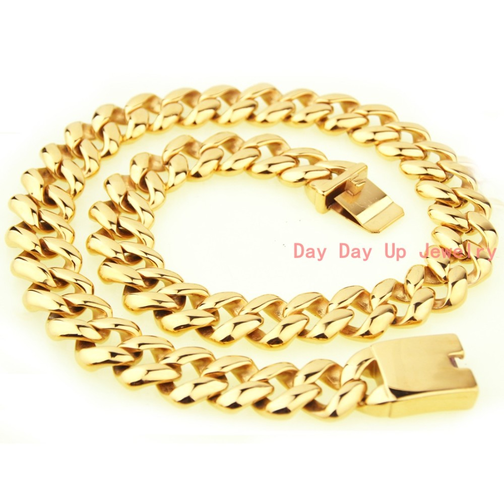 "23.6""*21mm 277g New Arrive Heavy 316L Stainless Steel Gold Tone Curb Cuban Chain Men's Boy's Necklace High Quality Cool Jewelry"