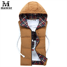 New 2014 Men Winter Vest Hoodie Vest For Men High Quality Plaid Print Casual Waistcoat Sleeveless Jacket Plus size XXXL(China (Mainland))
