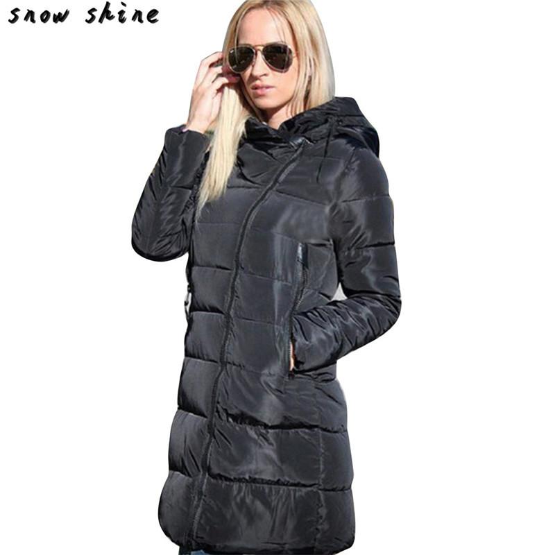 Скидки на Snowshine #3001 Зима Женщины Дамы Длинные Ватные Куртки С Капюшоном Пальто Куртка Мягкий И Пиджаки Молния бесплатная доставка