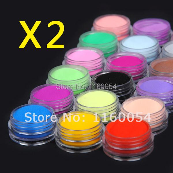 free shipping New Pro 2 sets of 18 Color acrylic Powder liquid Glitter Nail Art Tool Kit UV Dust gem 1161 set(China (Mainland))