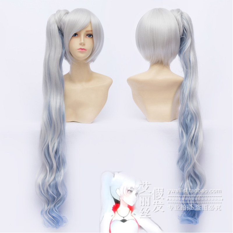 Anime RWBY Weiss Schnee Cosplay Wig 100CM Long Ponytail Wavy Women Party Full Wigs - HangZhou BOBO Co., Ltd store