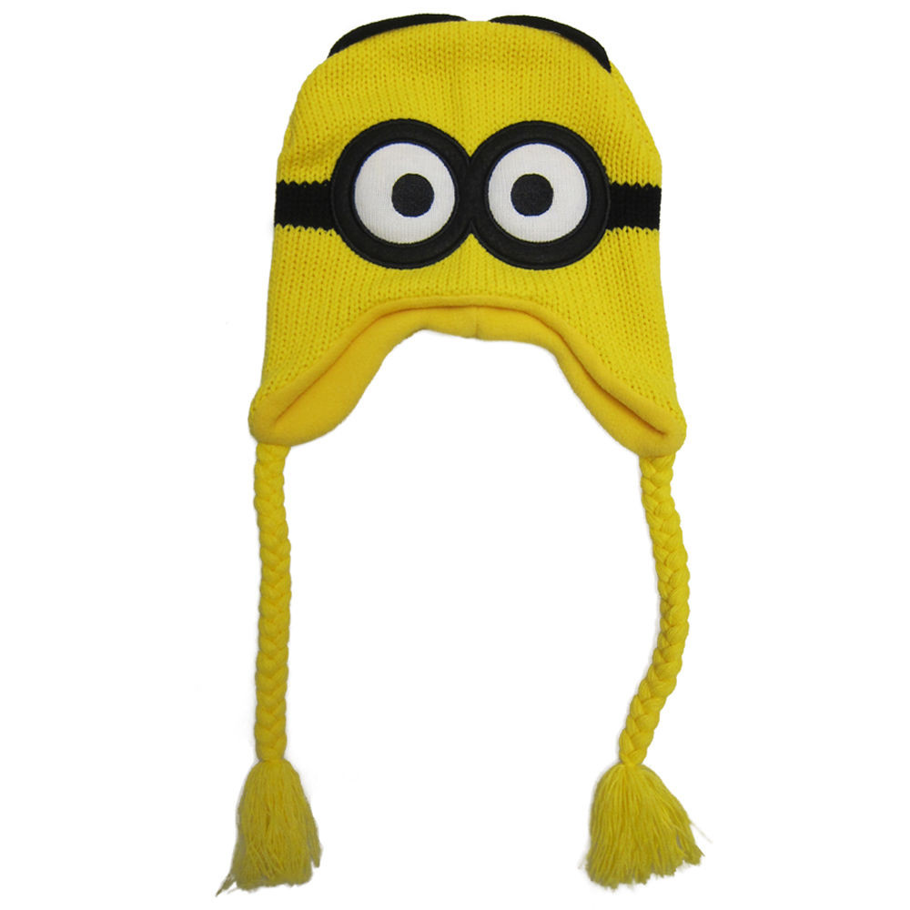 100% Original Despicable Me 2 DAVE Minion Beanie Knit Hat ski Cap Laplander Christmas Gift(China (Mainland))