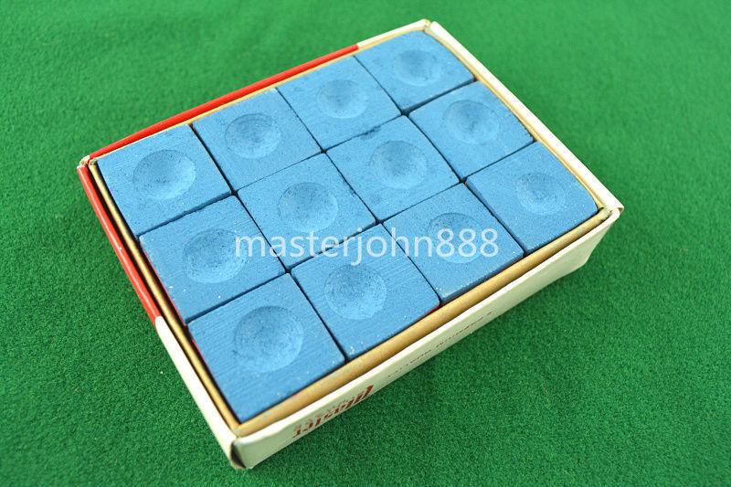 Pool Billiards Snooker Chalk Box of 12pcs Cubes Chalk Blue Free Shipping Wholesales(China (Mainland))