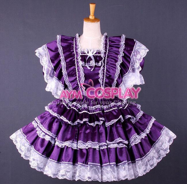 Custom Made Womens Anime Lockable Purple Satin Maid Lolita Uniform Cosplay Costume - Touch sa's store