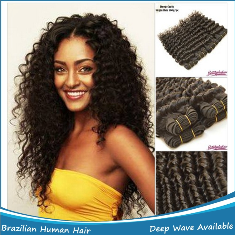 Good Quality Deep Wave Deep Curly Hair Weave,Natural Color Unprocessed Cheap Hair Bundles free shipping