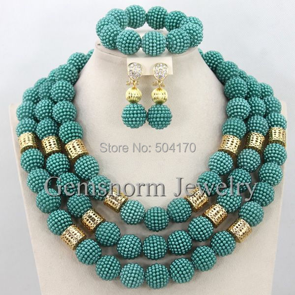 2015 Fashion Teal Green Blue African Wedding Beads Balls Jewelry Set 18K Gold Plated Dubai Bridal Jewelry Set Free Ship WB059(China (Mainland))